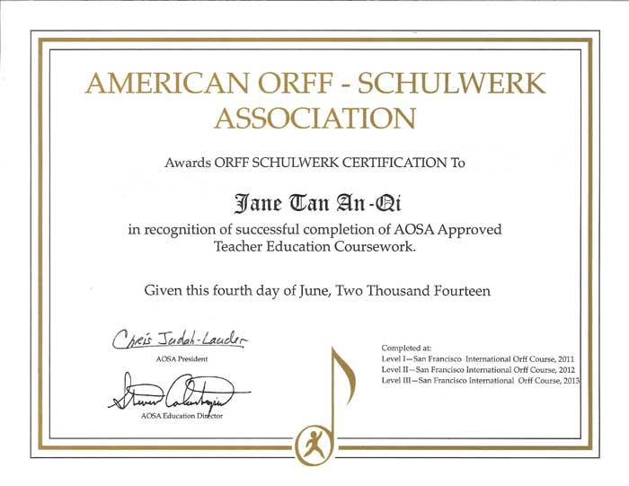 Certificate of Completion - American Orff-Schulwerk Association